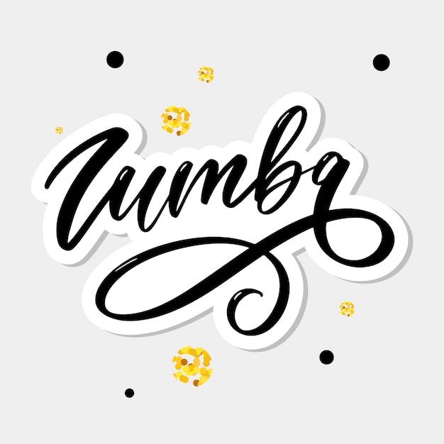 Zumba brief schriftzug kalligraphie tanzpinsel Premium Vektoren