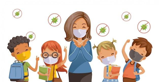 Zurück in die schule für ein neues normales konzept. vorbeugung von krankheiten, covid-19. kinder mit hygienemasken. die geste der lehrer hört auf. coronavirus im zusammenhang. Premium Vektoren