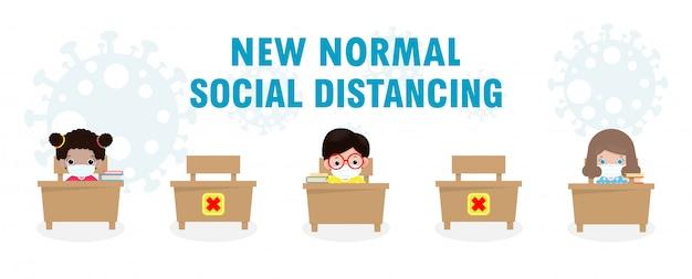 Zurück in die schule für einen neuen normalen lebensstil, soziale distanzierung im klassenzimmer. Premium Vektoren