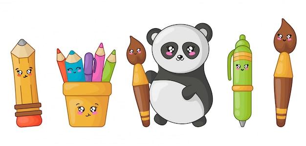 Zurück in die schule kawaii bleistift, stift, pinsel und panda Premium Vektoren