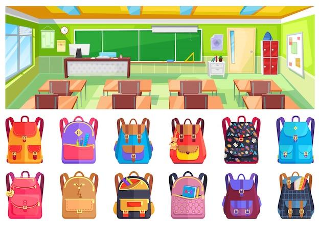 Zurück in die schule, klassenzimmer und rucksack Premium Vektoren