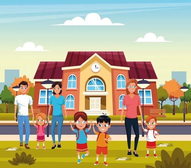 Zurück in die schule mit glück Kostenlosen Vektoren