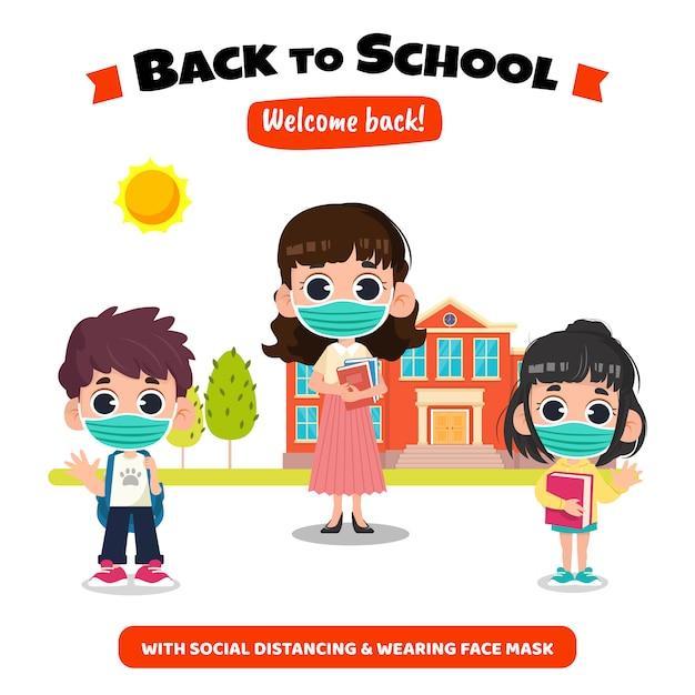 Zurück in die schule mit sozialem distanzkonzept Premium Vektoren