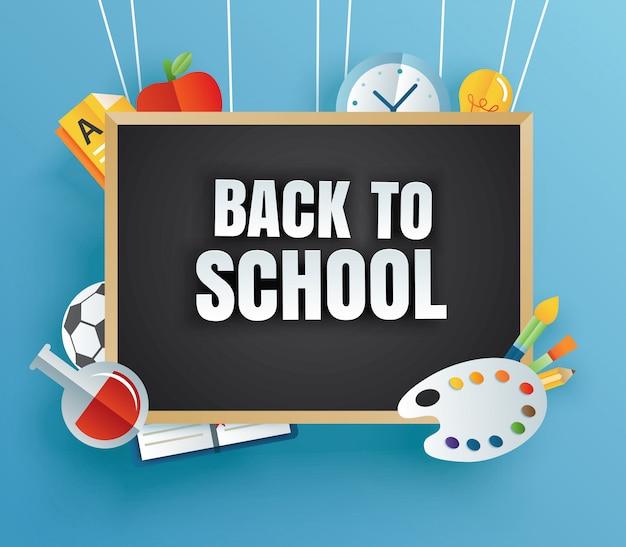Zurück in die schule mit unterrichtsmaterial und schwarzem brett Premium Vektoren