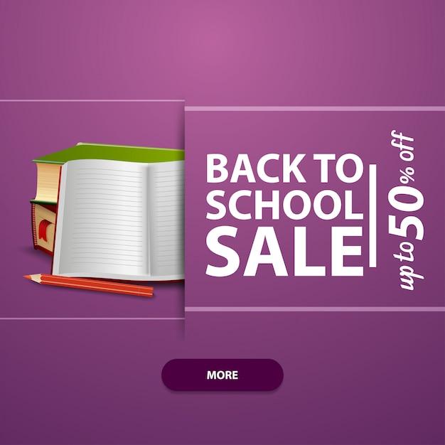 Zurück in die schule, quadratisches banner für ihre website, werbung und verkaufsförderung Premium Vektoren