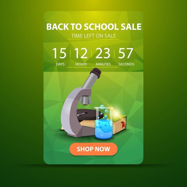 Zurück in die schule, web-banner mit countdown bis zum ende des verkaufs mit mikroskop Premium Vektoren