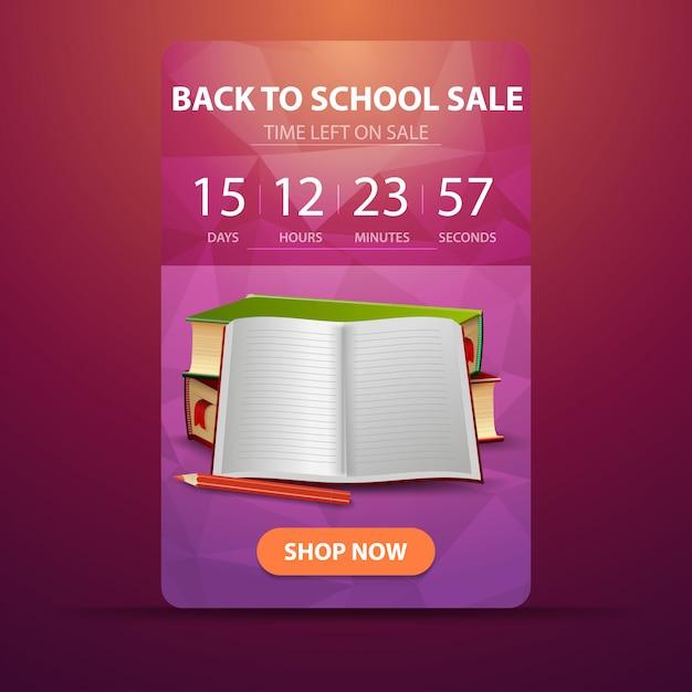 Zurück in die schule, web-banner mit countdown bis zum ende des verkaufs mit schulbüchern Premium Vektoren