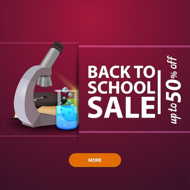 Zurück in die schule, werbung und promotionen mit dem mikroskop Premium Vektoren
