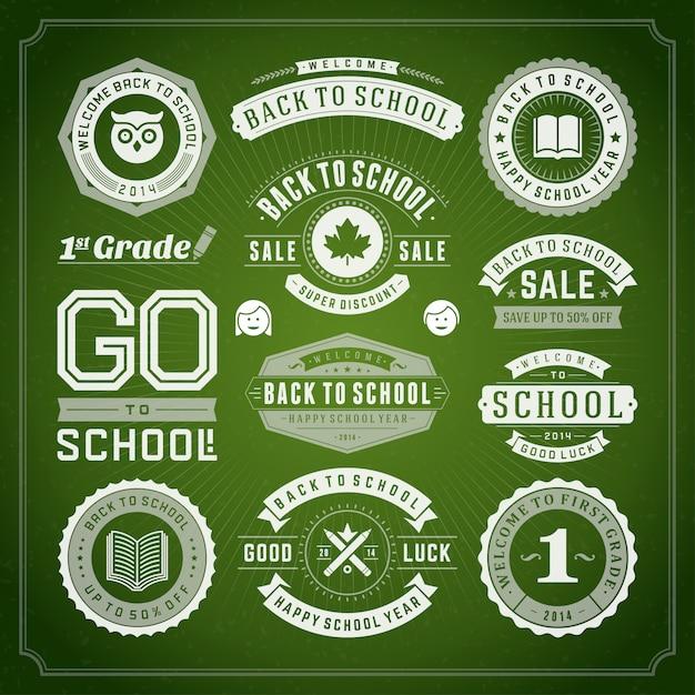 Zurück zu den schulelementen verkauf etiketten und abzeichen festgelegt Premium Vektoren