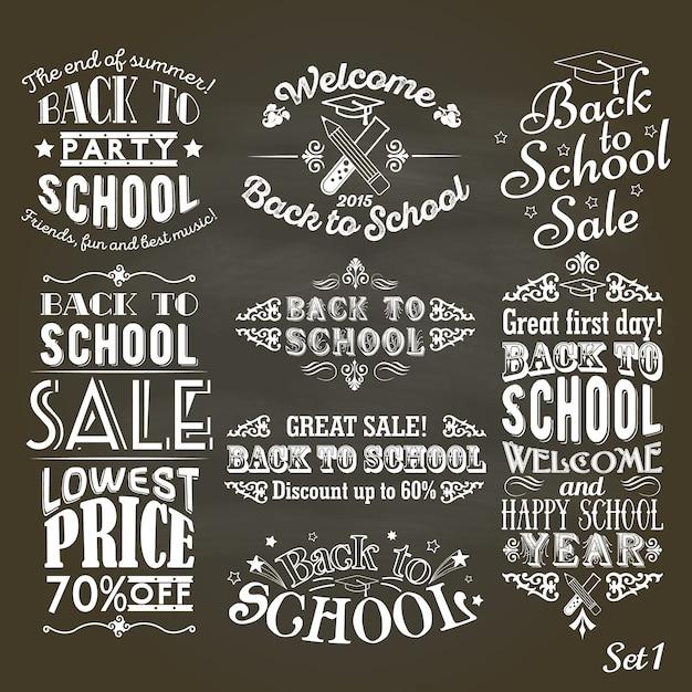 Zurück zu schoolvintage-aufklebern auf tafel Premium Vektoren