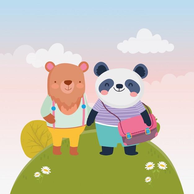 Zurück zu schulbildung niedlichen bären und panda mit rucksack natur blumen vektor-illustration Premium Vektoren