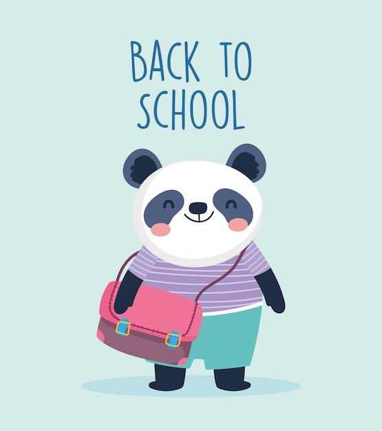 Zurück zu schulbildung niedlichen kleinen panda mit schultasche vektor-illustration Premium Vektoren