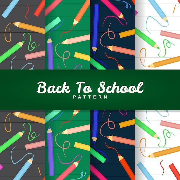 Zurück zu schule bleistift farbe nahtlose muster Premium Vektoren
