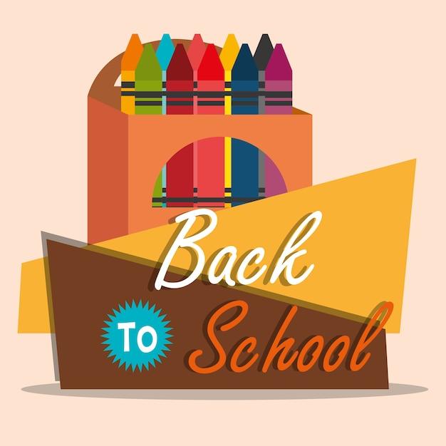Zurück zu schule-label mit farben buntstifte Premium Vektoren