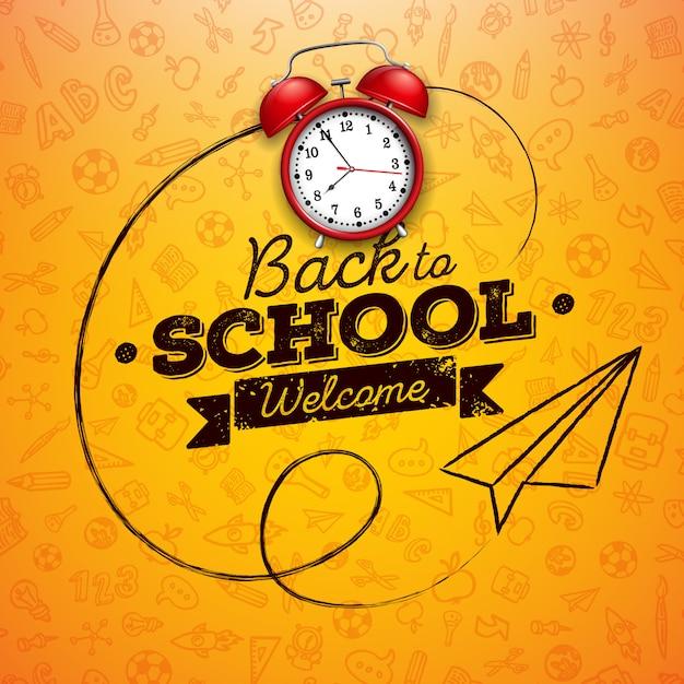 Zurück zu schule mit rotem wecker- und typografiebuchstaben auf gelb Premium Vektoren