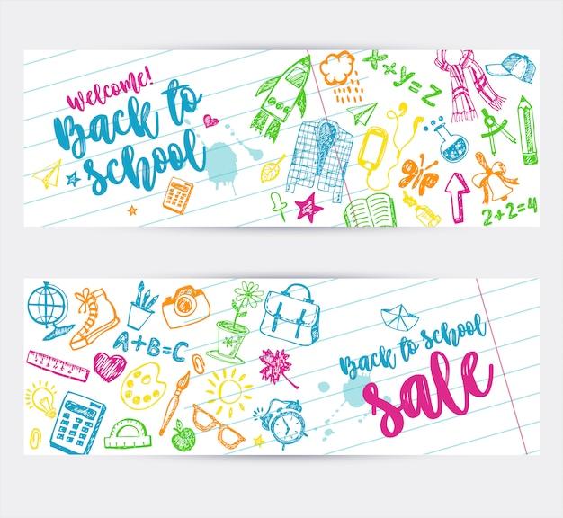 Zurück zu schule promo-banner-design. Premium Vektoren