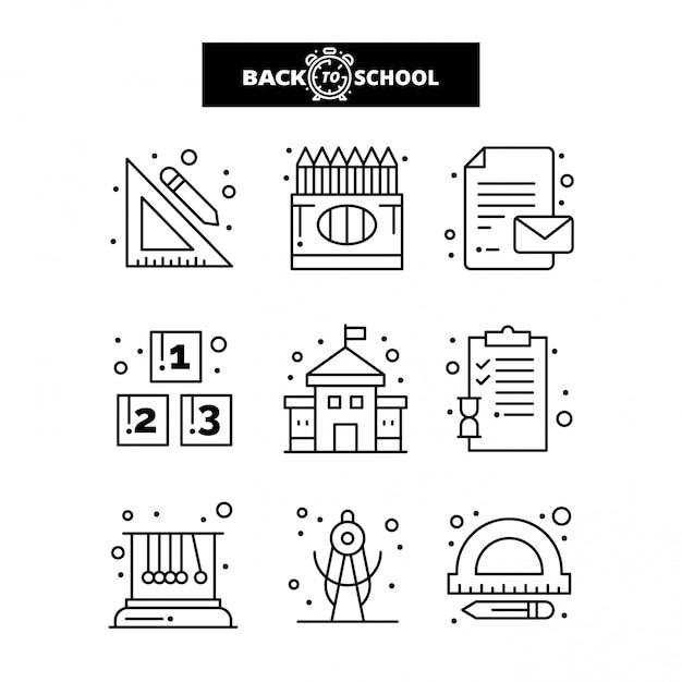 Zurück zu schule-symbol. bildungs- und lernlinie ikonen eingestellt. Premium Vektoren