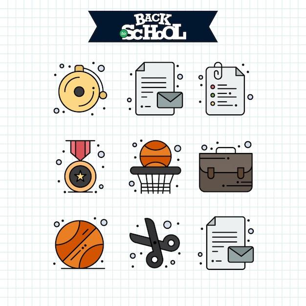 Zurück zu schule-symbol. bildungs- und lernlinie ikonen eingestellt. Kostenlosen Vektoren
