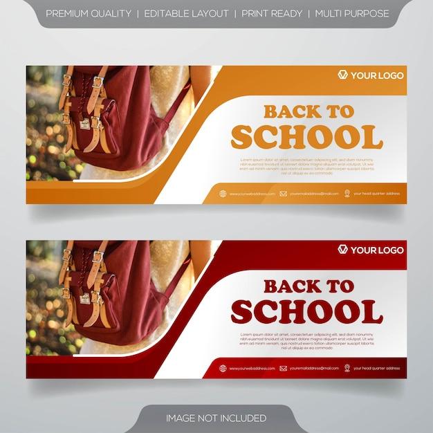 Zurück zu schule-web-banner-vorlage Premium Vektoren