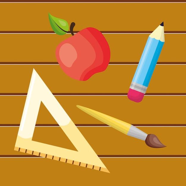 Zurück zu schulelementansammlung Kostenlosen Vektoren
