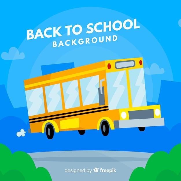 Zurück zu schulhintergrund mit bus Kostenlosen Vektoren