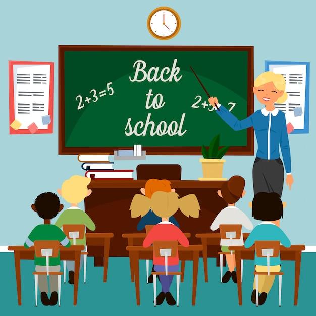 Zurück zur schule. klassenzimmer mit kindern. lehrer an der tafel. pädagogisches konzept. classrom interieur. schüler in der klasse. vektor-illustration Premium Vektoren