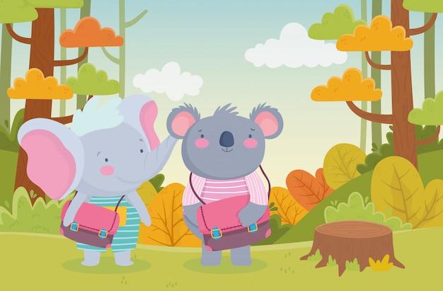Zurück zur schule koala und elefant Premium Vektoren