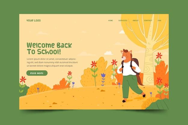 Zurück zur schule landing page mit tier Kostenlosen Vektoren