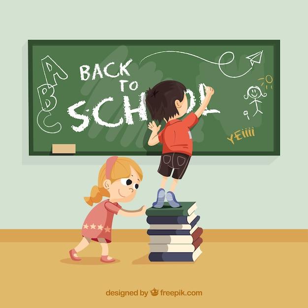 Zurück zur schule mit glücklichen kindern Kostenlosen Vektoren