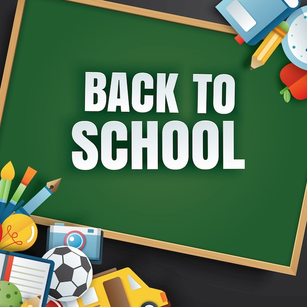 Zurück zur schule mit unterrichtsgegenständen und grüner tafel. Premium Vektoren