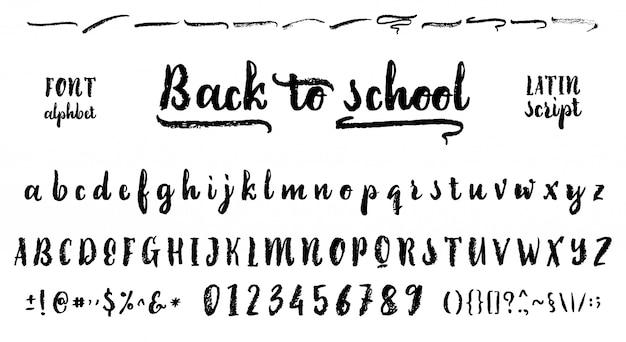 Zurück zur schule. schrift auf der grundlage von handschrift kalligraphie gezeichnet Premium Vektoren