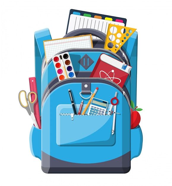 Zurück zur schule. schulmaterial im rucksack. Premium Vektoren