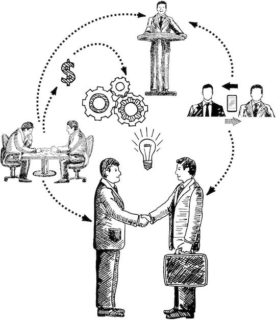 Zusammenarbeit von unternehmen Premium Vektoren