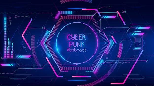 Zusammenfassung der high-techen nabe als cyberpunkhintergrund Premium Vektoren