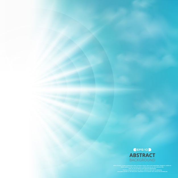Zusammenfassung des blauen himmels mit sonne sprengte im seitenhintergrund. Premium Vektoren