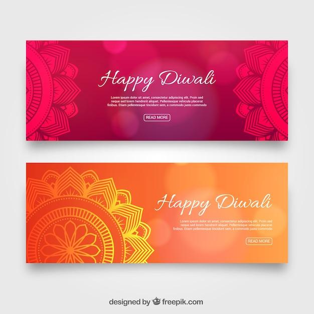 Zusammenfassung elegante diwali Banner Kostenlose Vektoren