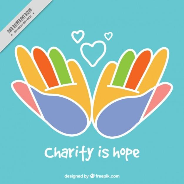 Zusammenfassung farbigen hände charity-hintergrund Kostenlosen Vektoren