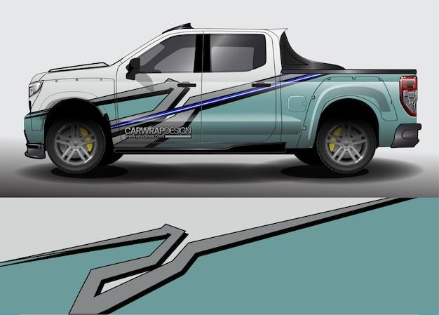 Zusammenfassung für lkw, rennwagenverpackungsdesign und fahrzeuglackierung Premium Vektoren
