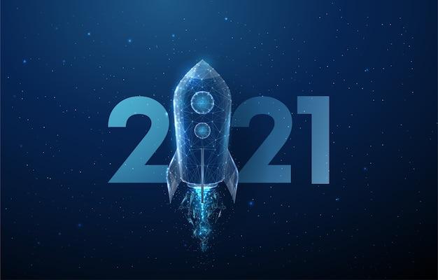 Zusammenfassung happy 2021 new year grußkarte raketenstart. low poly style design. abstrakter geometrischer hintergrund. drahtgitter-lichtstruktur. modernes 3d-grafikkonzept. Premium Vektoren