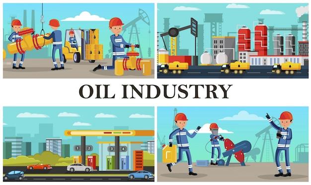Zusammensetzung der flachölindustrie mit industriearbeitern, die verschiedene aktionen an tankwagen und tankstellen für petrochemische anlagen in der stadt ausführen Kostenlosen Vektoren