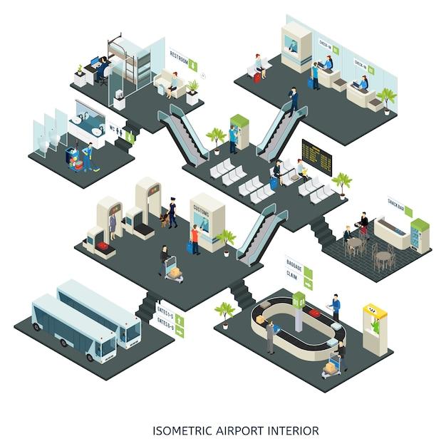 Zusammensetzung der isometrischen flughafenhallen Kostenlosen Vektoren