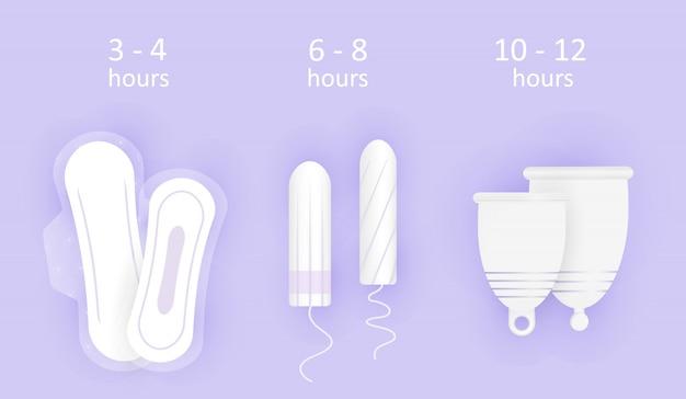 Zusammensetzung der weiblichen hygiene. tragezeit von hygieneprodukten. wahl zwischen menstruationstasse, tampon und pads. Premium Vektoren