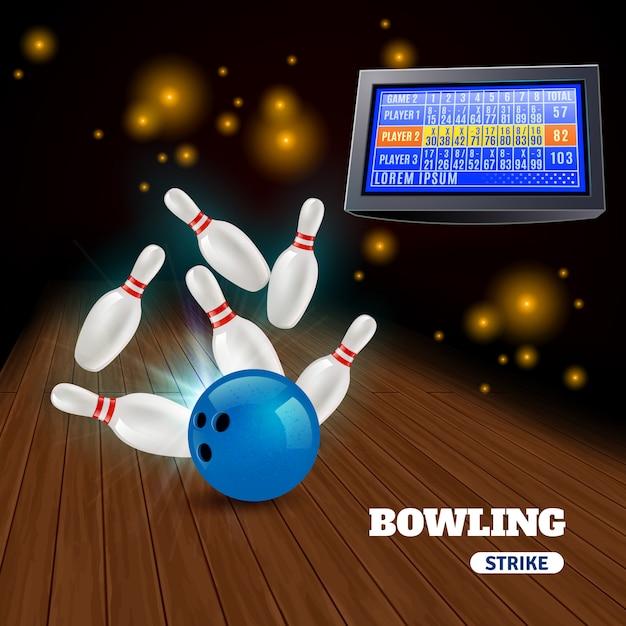 Zusammensetzung des bowlingspielstreiks 3d mit dem schlagen des blauen balls von den stiften und von den ergebnissen auf anzeigetafel Kostenlosen Vektoren