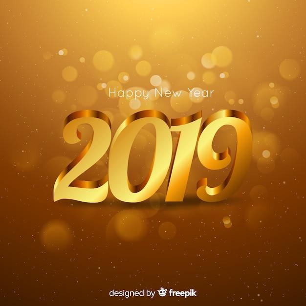 Zusammensetzung des neuen jahres 2019 mit goldener art Kostenlosen Vektoren
