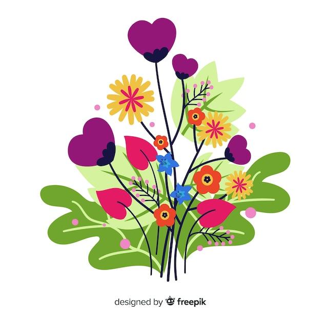 Zusammensetzung mit blütenblumen und niederlassungen in den herzformen Kostenlosen Vektoren