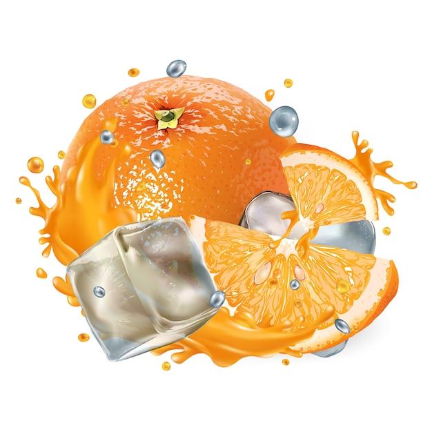 Zusammensetzung mit frischen orangen- und eiswürfeln auf einem weißen hintergrund. realistische illustration. Premium Vektoren