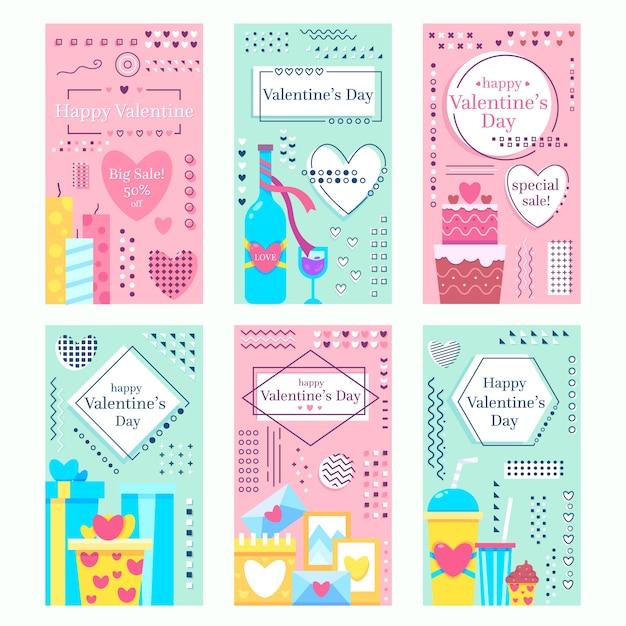 Zusammenstellung von valentinstaggeschichten Kostenlosen Vektoren