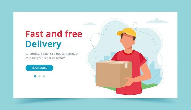 Zusteller, der eine paketbox hält. lieferservice, schneller und kostenloser versand. Premium Vektoren