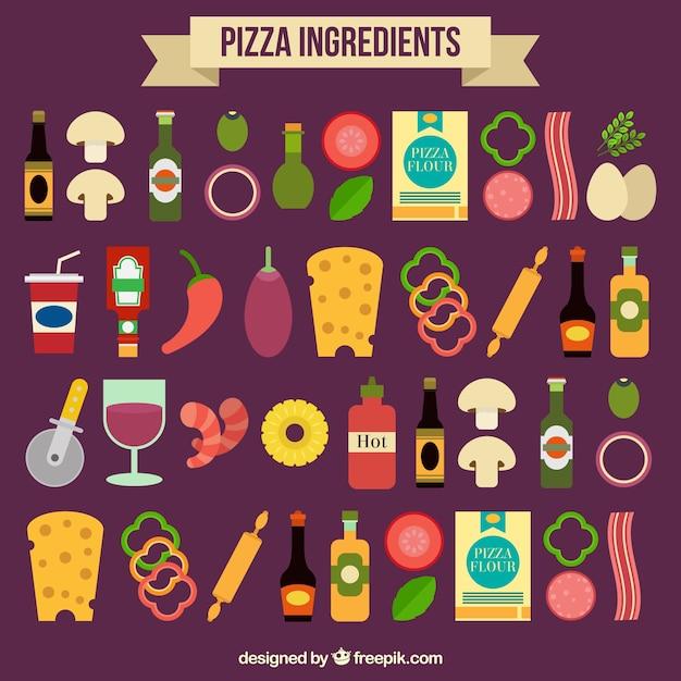 Zutaten der pizza auf einem lila hintergrund Kostenlosen Vektoren