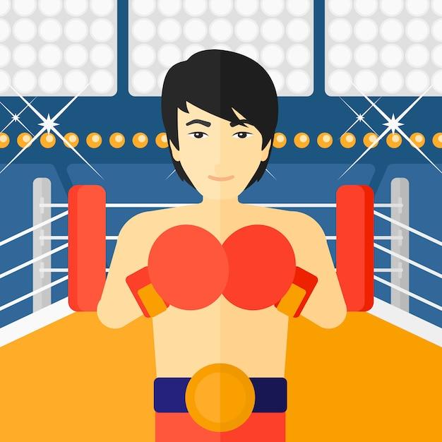 Zuversichtlich boxer in handschuhen Premium Vektoren